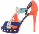 Brian Atwood Studded Colorblock Sandals