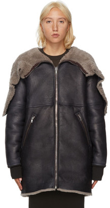 Rick Owens Reversible Black Shearling and Calfskin Jumbo Parka