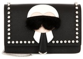 Fendi Karlito fur-trimmed leather shoulder bag