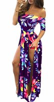 Sexy-club Women's Sexy Boat Neck 1//2 Sleeve Floral Printed Split Jumpsuits/Rompers