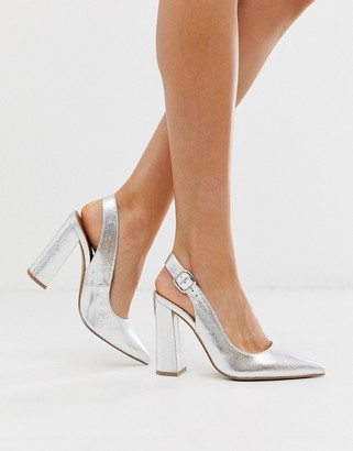 ASOS DESIGN Penley slingback high block heels in silver