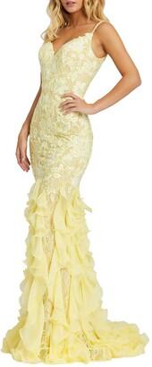Mac Duggal Lace Ruffle Mermaid Gown