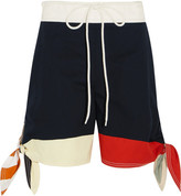 Chloé Color-block Cotton-twill And Linen-blend Shorts - Navy