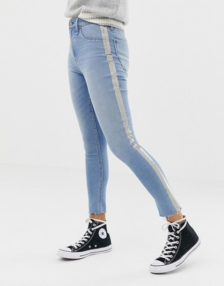 Abercrombie & Fitch high waist crop skinny with metallic panel-Blue