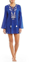 Gianni Bini Solid Embroidered Lace-up Dress Cover-Up