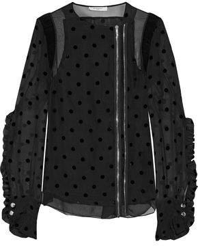 Givenchy Crepe-paneled Ruffled Flocked Silk-blend Jacket