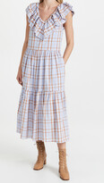 Thumbnail for your product : ENGLISH FACTORY Plaid Midi Dress with Ruffle Neck