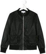 Simonetta leather style frill pocket jacket - kids - Polyester/Polyurethane/Spandex/Elastane/Viscose - 14 yrs