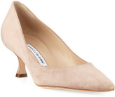 Manolo Blahnik Srila Suede Low-Heel Pumps