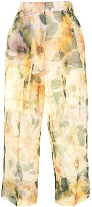 Dolce & Gabbana Floral-Print Sheer Trousers