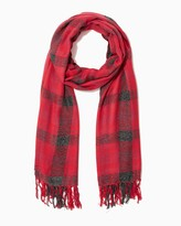 Charming charlie Lurex plaid tassel scarf