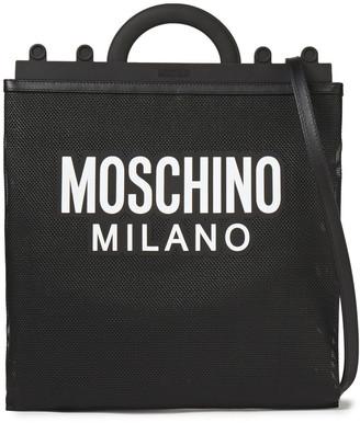 Moschino Leather-trimmed Logo-print Mesh Shoulder Bag