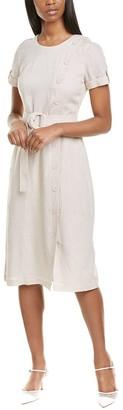 Karl Lagerfeld Paris Belted Linen-Blend Sheath Dress