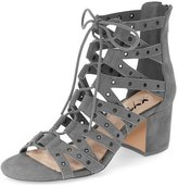 XYD Women Sexy Low Heels Lace-Up Shoes Black Gladiator Cutout Sandals Size 8