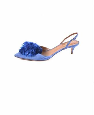 Aquazzura Powder Puff Blue Suede Heels