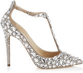 Jimmy Choo STORM 110 Nude Suede, Crystal Covered Pointy Toe Pumps