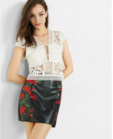 Express lace-up crocheted lace bandeau top