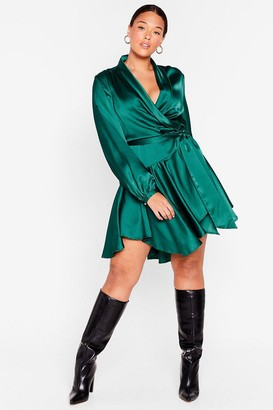 Nasty Gal Womens Hey Girl What's Satin-ing Plus Wrap Mini Dress - Green
