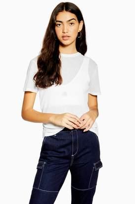 Topshop White Plain Mesh T-Shirt