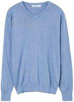 Meters/bonwe Men's Casual V Neck Long Sleeve Solid Color Sweater, L