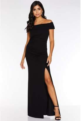 Quiz Black Bardot Ruched Split Maxi Dress