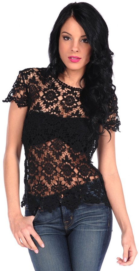 RD Style Lace Cap Sleeve Top