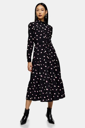 Topshop Spot Tiered Midi Shirt Dress