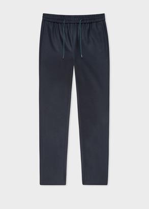 Paul Smith Women's Navy Wool-Flannel Drawstring Trousers