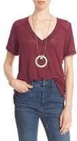 Free People Women's 'Pearls' Raw Edge V-Neck Tee