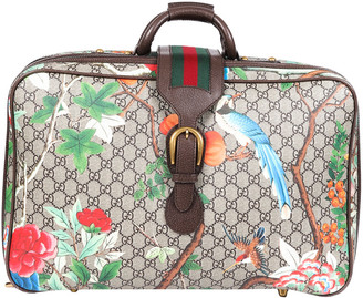 Gucci Brown Gg Supreme Canvas & Leather Tian Suitcase