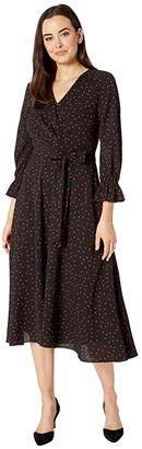 Tahari ASL Long Sleeve Side Tie Pebble Crepe Polka Dot Shirtdress (Black/Red Dot) Women's Dress