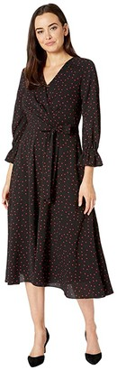 Tahari ASL Long Sleeve Side Tie Pebble Crepe Polka Dot Shirtdress (Black/Red Dot) Women's Dress