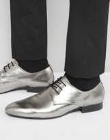 Dune Metallic Lace Ups in Pewter