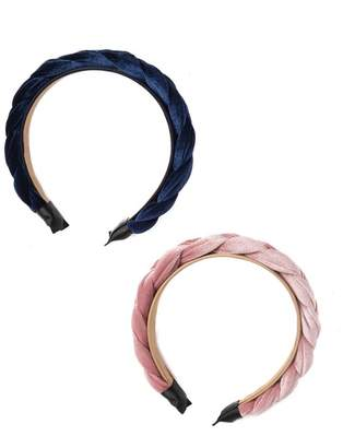 Noir Braided Velvet Headbands - Pack of 2