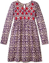 Pink Chicken Anna Dress (Toddler/Kid) - Purple Diamond Ikat - 3 Years