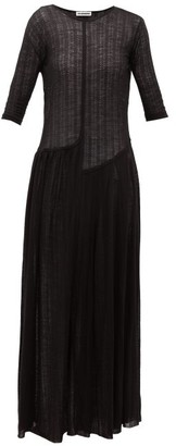 Jil Sander Wool-blend Jersey Maxi Dress - Black
