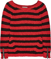 Maje Striped cotton and linen-blend sweater