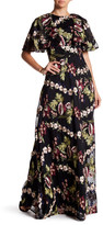 Monique Lhuillier Floral Embroidered Wide Sleeve Maxi Dress