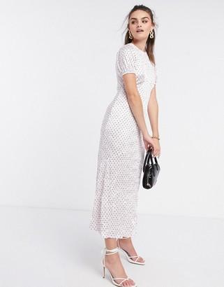 ASOS DESIGN midi dress in crinkle shine spot print in pink