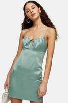 Topshop Womens Sage Green Gathered Bust Slip Dress - Dark Sage