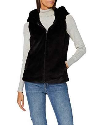 Only Women's Onlvida Faux Fur Hooded Waistcoat OTW Outdoor Gilet, Black, S