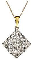 Fashion World 9ct Yellow Gold Diamond Pendant