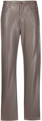Nanushka Faux-Leather Straight-Leg Trousers