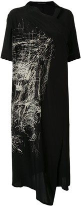 Yohji Yamamoto Scribble-Print Mid-Length Coat