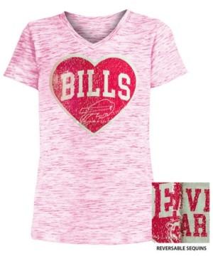 5th & Ocean Big Girls Buffalo Bills Heart Flip Sequin T-Shirt