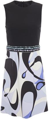 Emilio Pucci Embellished Printed Ponte Mini Dress