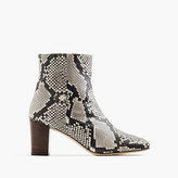 J.Crew Heeled ankle boots in snakeskin-printed leather