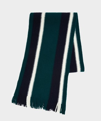 Drakes Collegiate Striped Scarf in Green