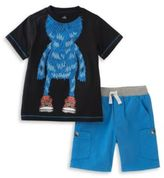 Kids Headquarters Two-Piece Sneakered Monster Graphic Tee and Shorts Set