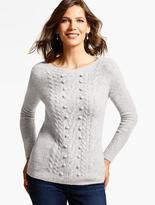 Talbots Cabled Bouclé Cashmere Sweater